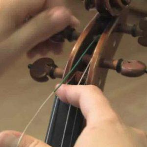 Strängar byts på fiol